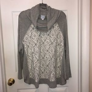 DRESSBARN Gray Ivory Lace Inset Cowl Neck Pullover